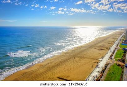 Virginia Beach Boardwalk | High aerial panoramic view | Virginia Beach, VA, USA.