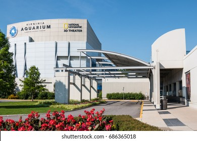 VIRGINIA BEACH, VIRGINIA - JULY 13, 2017:  The Virginia Aquarium & Marine Science Center, with a 3D IMAX theater, aquariums and animal habitats.