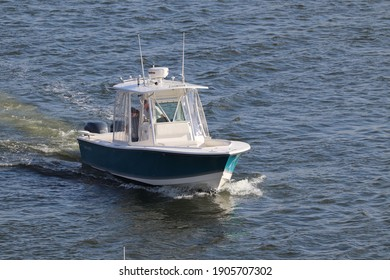 Virginia Beach, Virginia, USA - December 13, 2020: A day fishing boat getting ready to go out onto the Chesapeake Bay for a fishing trip