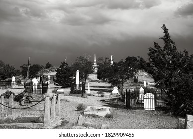 Virginia City, Nevada / United States - August 9th 2014: A sepia color image of the Virginia City Cemetery