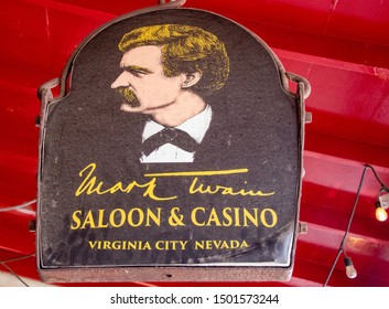 Virginia City, Nevada / USA - 09/09/19: The Mark Twain Saloon and Casino Along the Streets of Old Gold and Silver Mining Town of Virginia City
