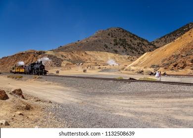 Virginia City/Nevada/USA -  May 9, 2015: Locomotive that runs on the Virginia and Truckee Railroad. A short train ride from Virginia City to Silver City Nevada.