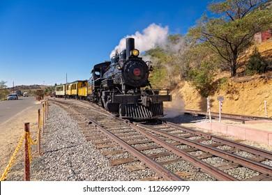 Virginia City/Nevada/USA -  May 9, 2015:Steam train preparing to ride in virginia city