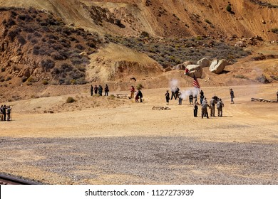 Virginia City/Nevada/USA -  May 9, 2015:Unidentifiable soldiers fight during the reenactment of the Civil War Battle of Virginia City nevada