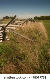 A Virginia rail fence with grasses at Gettysburg