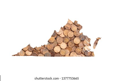 Virginia State Map and Money Concept, Piles of Coins, Pennies