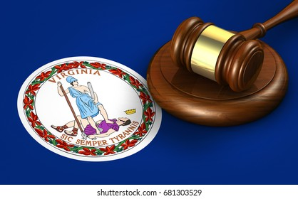 Virginia US state law, legal system and justice concept with a 3D rendering of a gavel on Virginian flag.