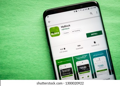 Virginia, USA - January 30, 2019: MyBlock by H&R Block application on smartphone screen close-up Google Play Store install page to download app on Android.