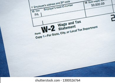 Virginia, USA - January 31, 2019: Form W-2 Wage and Tax Statement Internal Revenue Service (IRS) official tax form.