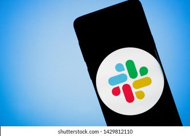 Virginia, USA - June 20, 2019 - Slack business collaboration hub app IPO on smartphone screen close-up on Android mobile phone.