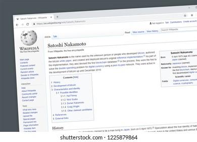 Virginia, USA - November 5, 2018 - Satoshi Nakamoto Wikipedia information page.