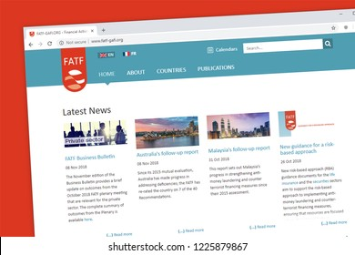 Virginia, USA - November 5, 2018 - Financial Action Task Force or FATF website homepage. The FATF is an inter-governmental body of 37 countries against money laundering and terrorist financing.