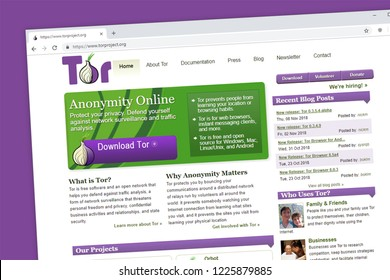 Virginia, USA - November 5, 2018 - Tor or The Onion Router website homepage. The Tor project protects your privacy and anonymity online.