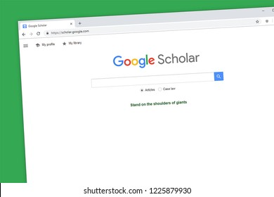 Virginia, USA - November 5, 2018 - Google Scholar website homepage. Search for scholarly published literature.