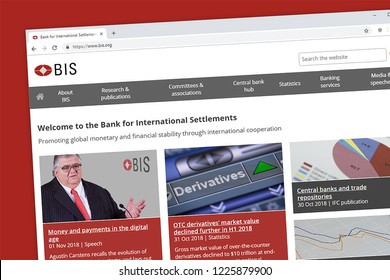 Virginia, USA - November 9, 2018: The Bank for International Settlements or BIS website homepage.