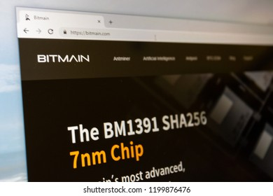 Virginia, USA - October 10, 2018 - Bitmain bitcoin cryptocurrency mining company crypto currency website home page with BM1391 SHA256 chip ad