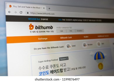 Virginia, USA - October 10, 2018 - Bithumb cryptocurrency exchange website home page, a South Korea based crypto currency digital finance exchange company