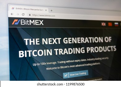 Virginia, USA - October 10, 2018 - Bitmex website home page. The next generation of bitcoin cryptocurrency trading products for decentralized digital finance.