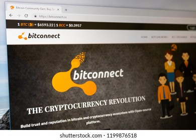 Virginia, USA - October 10, 2018 - Bitconnect cryptocurrency community for bitcoin investors to buy, sell and trade bitcoins crypto currency digital finance website home page.