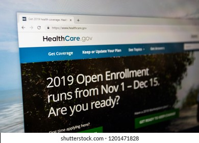 Virginia, USA - October 13, 2018:  Healthcare.gov 2019 open enrollment website home page to apply for Obamacare health care insurance