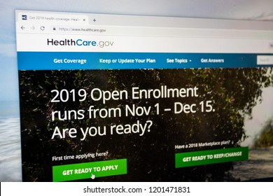Virginia, USA - October 13, 2018:  Healthcare.gov 2019 open enrollment website home page to apply for Obamacare health care insurance mouse over get ready to apply