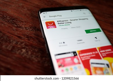 Virginia, USA - October 23, 2018: AliExpress Smarter Shopping, Better Living Android app on smartphone screen close-up.