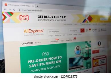 Virginia, USA - October 23, 2018: AliExpress Smarter Shopping, Better Living website browser home page