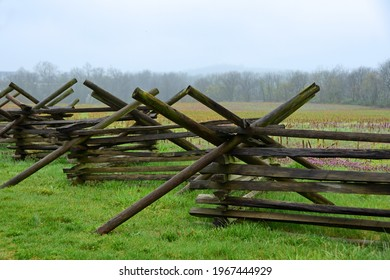 virginia worm wooden fence  in the historic  gettysburg battlefield along chambersburg road on a cloudy day in spring in pennsylvania - Shutterstock ID 1967444929