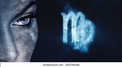 Virgo Zodiac Sign. Astrology women night sky background