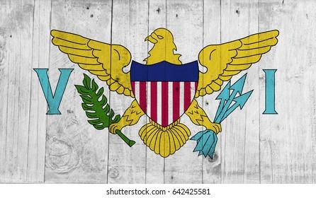 Virkin Islands US flag on grunge wooden background