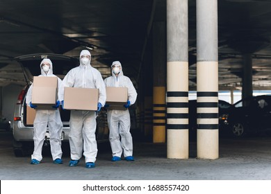 Virologists carrying samples of coronavirus to making research and testing vaccine in lab, copy space, world pandemic