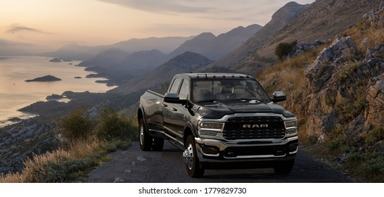 Virpazar,Montenegro-September 2029:Dodge Ram 2500 on a mountain road