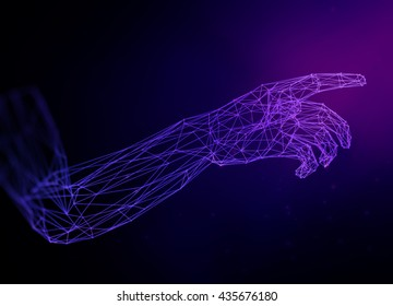 Virtual 3D hand illustration