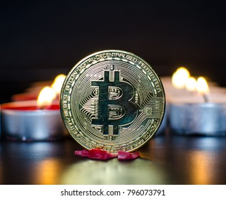 A virtual bitcoin coins with color candles.