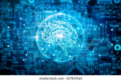 Virtual brain innovative technology in science and medical concept in blue tone