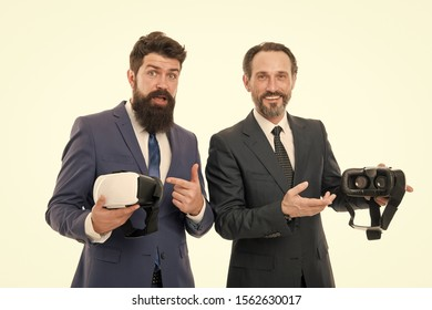 Virtual business. Online business concept. Men bearded formal suits. Digital and cyber technologies. Experimental experience. Business innovation. Vr presentation. Men vr glasses modern technology.