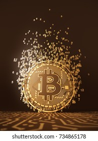 Virtual Coin Bitcoin Emits Particles In The Form Of Numbers. 3D Illustration.