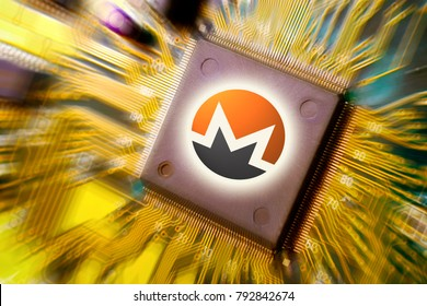 Virtual cryptocurrency and blockchain - financial technology and internet money - circuit board mining and coin Monero XMR