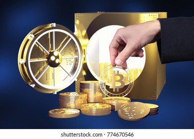 Virtual cryptocurrency concept with golden coins of bitcoin