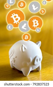 Virtual cryptocurrency - financial technology and internet money - piggy bank and coin sign of Litecoin LTC and Bitcoin BTC