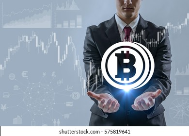 virtual currency concept, bitcoin, FinTech, block chain, abstract image visual