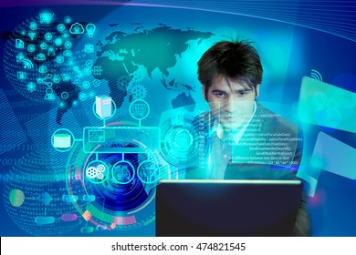 Virtual image of a Business man operating the process of triggering a software development process, which it connects the various systems globally through a single click in a network and coding phase.