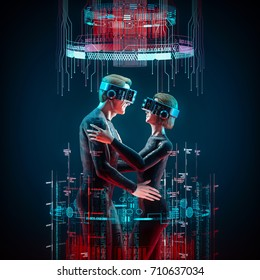 Virtual love concept / 3D illustration of male and female figures embracing wearing virtual reality glasses