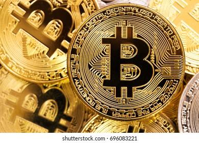 Virtual money - golden bitcoin coins