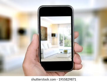 Virtual Open House Showing Or Online Tour with a smartphone in hand - Shutterstock ID 1955829871