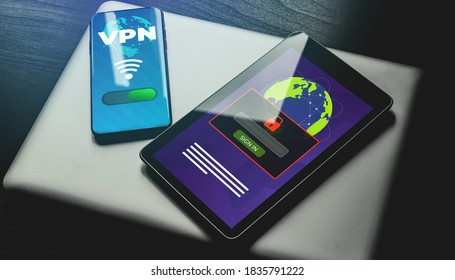 Virtual Private Network (VPN) cyber security and Privacy Business Data Encryption concept. Smartphone with vpn app and tablet pc with password field. Anonymous internet using.