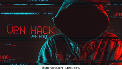 Virtual private network VPN hack concept with faceless hooded male person, low key red and blue lit image and digital glitch effect