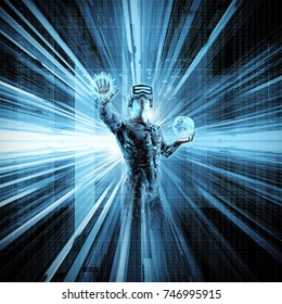 Virtual reality data stream / 3D illustration of male figure in virtual gear working in cyberspace