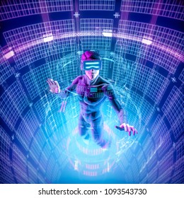 Virtual reality datasphere male user / 3D illustration of male figure in virtual gear working in glowing cyber environment