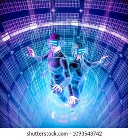 Virtual reality datasphere teamwork / 3D illustration of male and female figures in virtual gear working together in glowing cyber environment